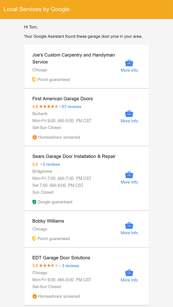Google Local Services email