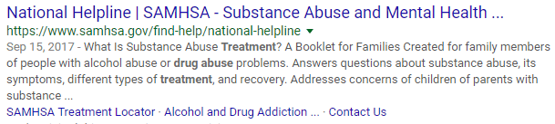 National Helpline Samhsa Substance Abuse And Mental Health >> Google Taking Action On Organic Search Results For Treatment Centers