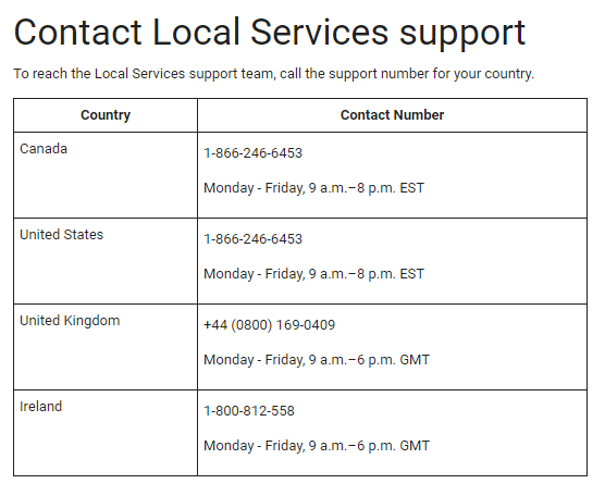 Google Local Services ads - Contact support in other countries