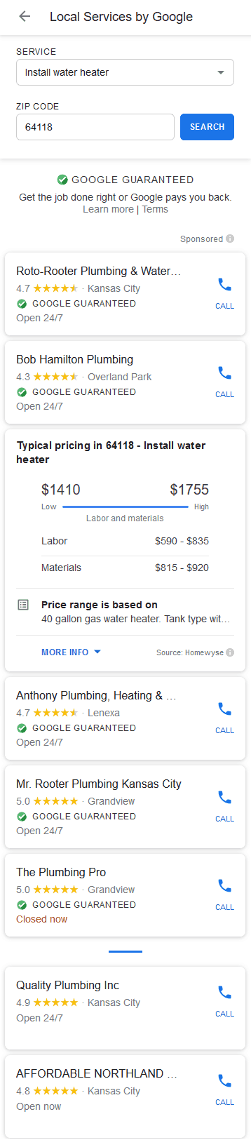 Local Services ad unit with water heater install price range