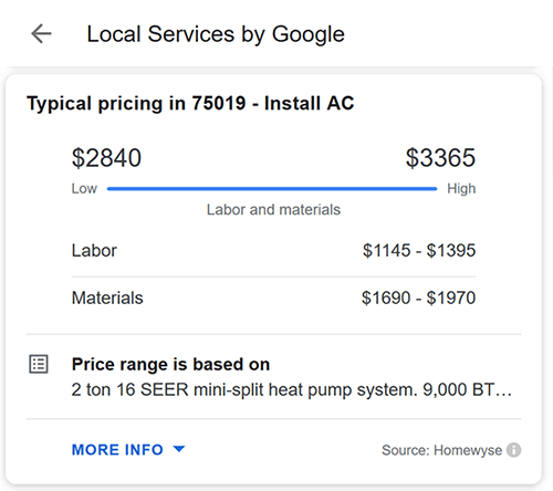 Local Services Typical Pricing Range