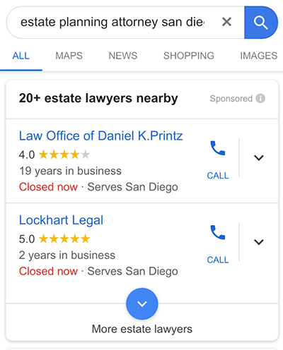 Google Local Services Ads - Attorneys