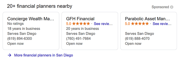 Financial Planners - Google Local Services Ads