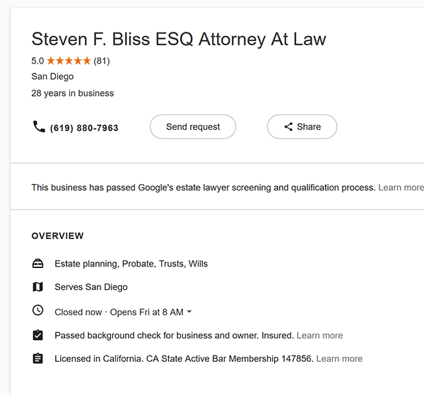 Google Local Services Attorney Profile