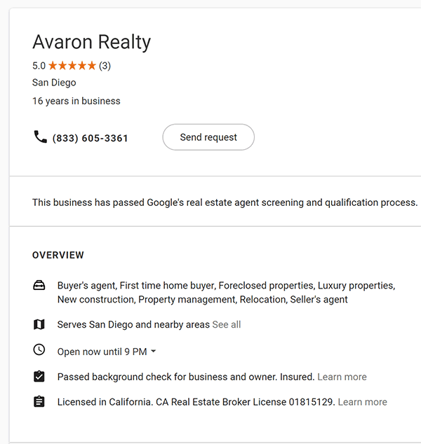 Google LSA Real Estate Agent profile