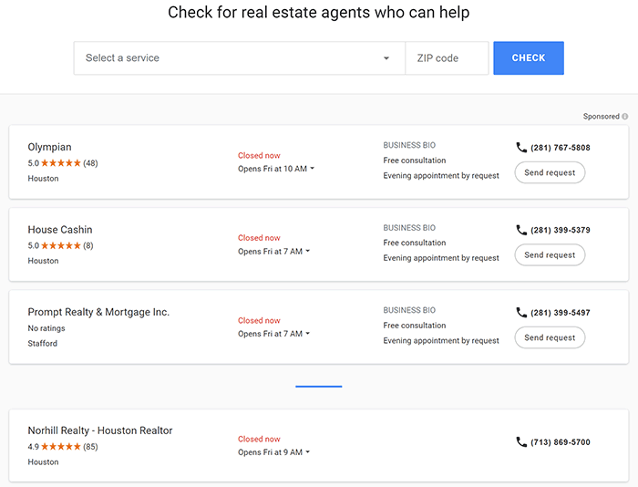 Sponsored real estate agent listings on Google Local Services