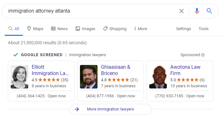 Immigration attorneys on Google Local Services ads