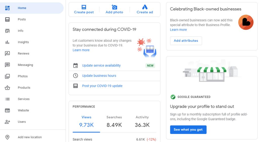 Google My Business upgrade option